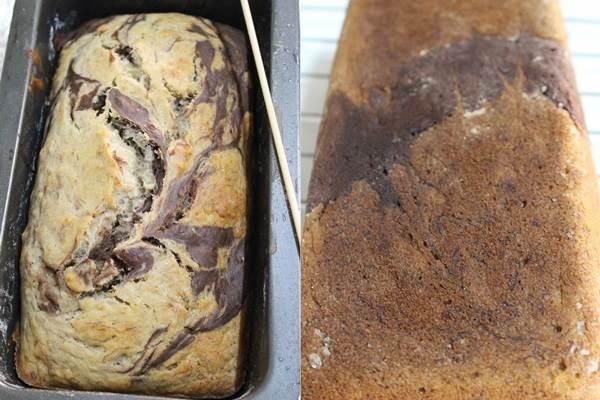 baked eggless banana marble cake