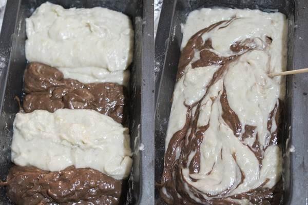 greasing pan for eggless banana marble cake