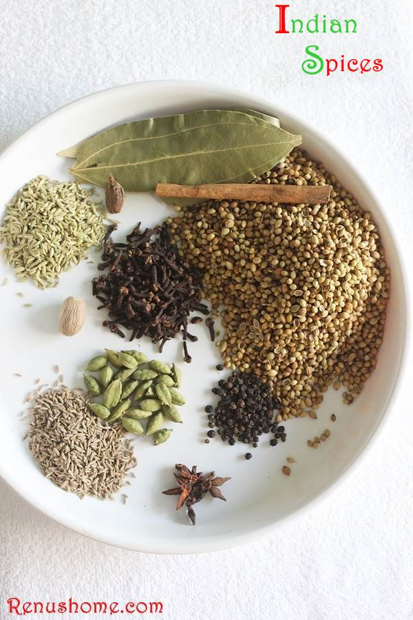 Indian spices in hindi, tamil, telugu